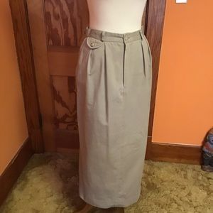 Vintage 80s Ralph Lauren khaki long pencil skirt